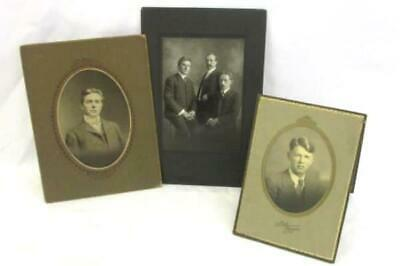 Lot of 3 Professional Photographs on Cardboard Early 1900s Men Group Photo