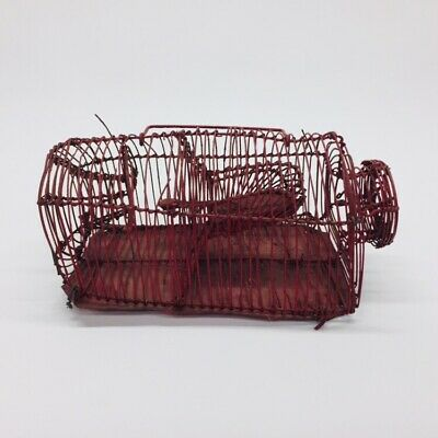 Antique Live Catch Mouse Trap Primitive Metal Wire Cage Painted Red