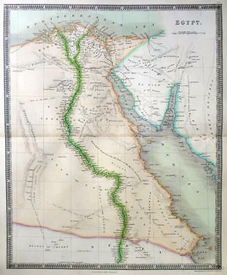 EGYPT  BY DOWER / TEESDALE  GENUINE ANTIQUE MAP ORIGINAL HAND COLOUR  c1844