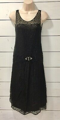 VINTAGE 1920's BLACK LAYERS OF LACE AND SILK FLAPPER DRESS 20's EXC COND SIZE 00
