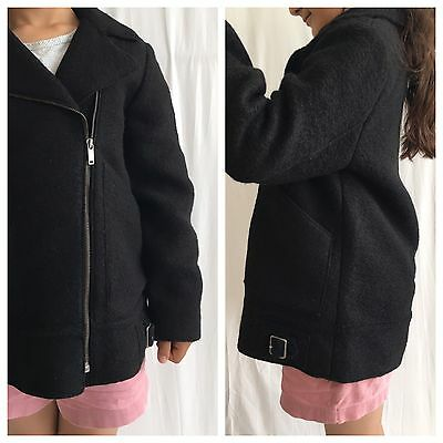Zara Girls Black Wool Blend Biker Jacket With Metal Zip, Belt Loops 9-10 Years