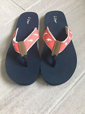 839831659d286 J.Crew Factory Women's 8M - Coral/White Elephant Embroidered Canvas Flip  Flops