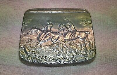 Rare Antique James Dixon & Sons Cornish Pewter Snuff Box Hunt Scene 3.5cm X 6cm