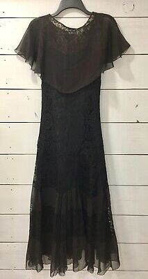 VINTAGE 1920's BLACK LACE & SILK FLAPPER DRESS FLUTTER SKIRT EXC COND SIZE 00