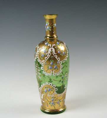 Antique Bohemian Moser Green Art Glass Vase with Enamel and Gold Decoration