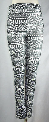 3e3f2adcd5d75 Rue 21 Tribal Print Hi-Waist Black White Textured Side Zip Leggings Size  Large L