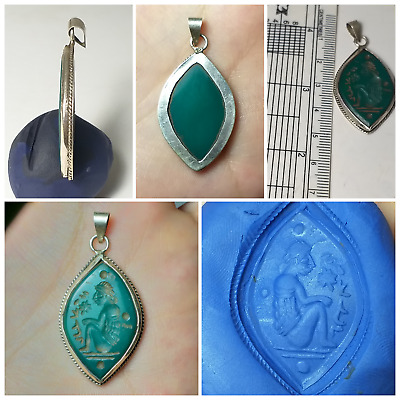Very beautifull old medievel agate intaglio pure silver pendent