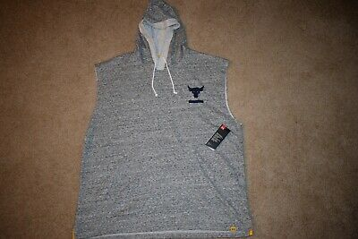 74689b71056bd Under Armour Men s Project Rock Sleeveless Hoodie 5819 Size XXL (Onyx  White) NWT