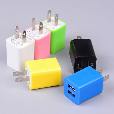 "US plug USB charging 2 port wall home travel AC charger adapter ""for smart ph fC"