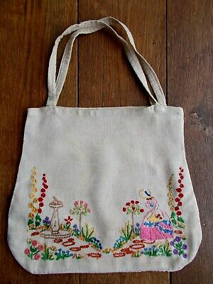 Antique Hand Embroidery Linen Bag With The Crinoline Lady In A Cottage Garden