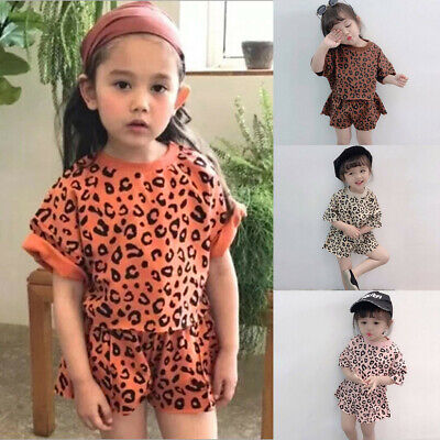 Child Toddler Kids Baby Girl Outfit Clothes Leopard T-shirt Tops+Shorts 2PC Set