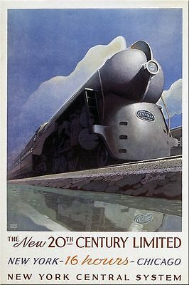 Leslie Ragan Travel Rail Poster New 20th Century New York Central Art Deco 1938