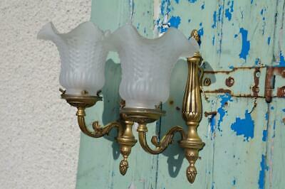Vintage 1930's French Gilded Brass Rococo Wall Sconces Opaque Glass Shades CHIC