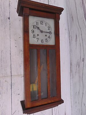 Large Vintage Dark Wood Tone Mechanical Wall Clock With Pendulum & Chimes - D33