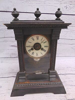 Antique JUNGHANS Oak Mantel Clock Decorative Case With Chimes & Pendulum - S32