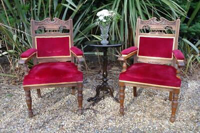 Antique Edwardian Armchairs Matching His & Hers Throne Chairs x2 Carved Oak Chic