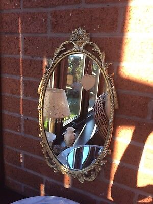 Vintage Wall Mount Gilded Metal Frame Oval Mirror French Style. 50cm High