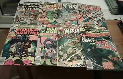Marvel Comics bronze age comics x 8 issues,black panther,Thor etc,1973-1979.