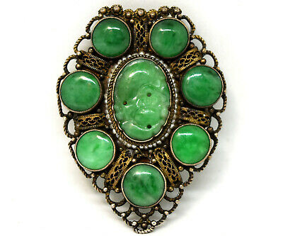 Antique Chinese Natural Hand Carved Jade and Sterling Silver Clip on Brooch/Pin