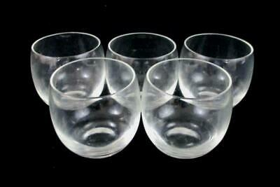 Set of 5 Clear Glass Stemless Wine Glasses Water