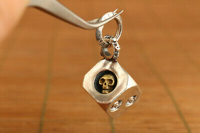 100% 925 silver hand carved skull dice statue pendant Cool Necklace