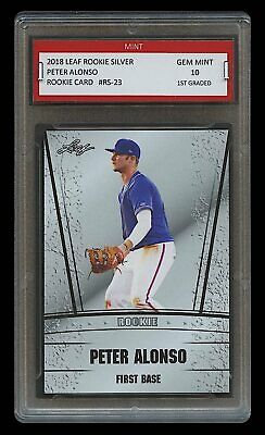 Peter Alonso 2018/18 Leaf Silver 1St Graded 10 Rookie Card New York Mets (Pete)