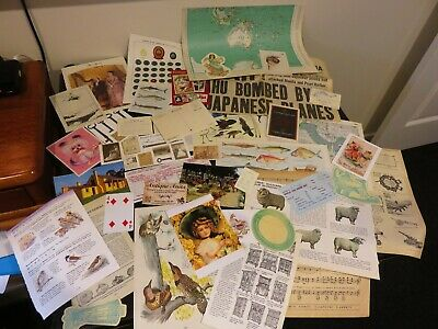 50 Vintage papers,page dictionary music paper, ephemera collage craft no 18