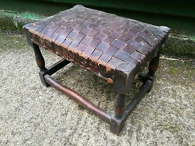 Quality ~Vintage ~Footstool ~Woven Leather Top Footstool~ Good Condition