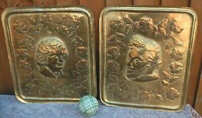Pair Antique Arts & Crafts Brass Hand Embossed Decorative Wall Plaques