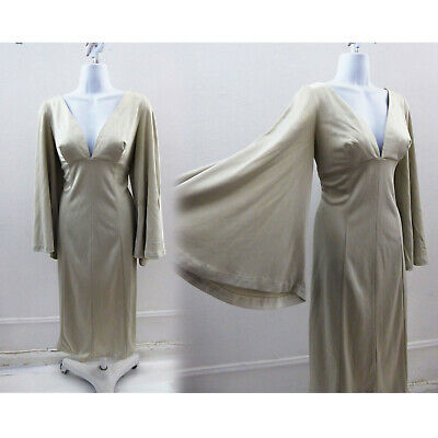 Vintage 70s Dress Size S Silver Gray Jersey Disco Vtg 60s Angel Sleeve Wiggle