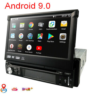 """7"""" Single 1 DIN Android 9.0 Car CD DVD Player GPS Nav BT HD Touch Stereo Radio"""