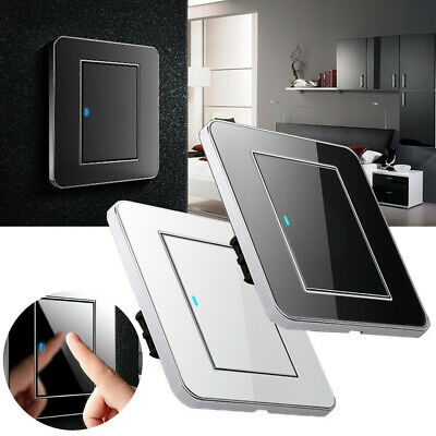 1 Gang 1 Way Acrylic Crystal Mirror LED Light Switch Plate 16A Push Button Panel