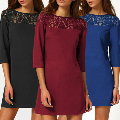 Women's Fashion Round Neck Short Sleeve Stitching Lace Hook Flower Dress CB
