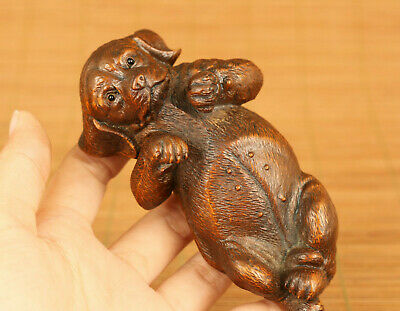 Lovely old chinese boxwood hand carved lie dog statue netsuke hand piece