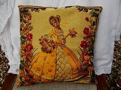 Antique Tapestry & Velvet Cushion~Crinoline Lady In An English Country Garden