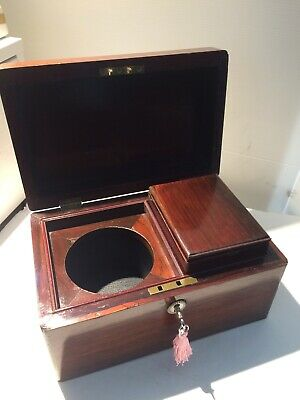 Rosewood Tea Caddy With Key And Canister