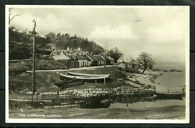 Postcard  : Isle of Arran village of Corrie, boats at the Harbour, a real photo