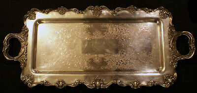 """W. and S. Blackinton Silver Plate Victoria Pattern LARGE Footed Serving Tray 25"""""""