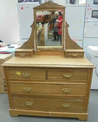 Edwardian Farmhouse Style Solid Wood Drawers / Dressing Table With Mirror - R22
