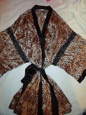 NWT Victoria's Secret Cheetah Lace Kimono Bath Lounge Robe XS/S