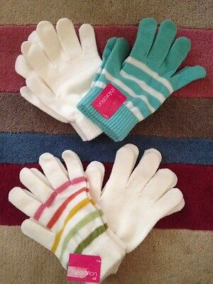 Lot Of 2 Sets NWT Xhilaration Winter Gloves Blue & Cream Solid & Stripes (4)