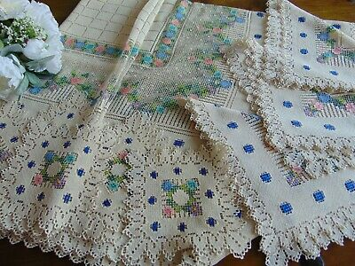 Antique Rare Hand Darned Burrato Filet Lace X-Large Tablecloth + 12 Placemats