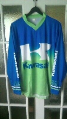 "KAWASAKI Large 44"" chest Shirt / Jersey - Green/Blue New"