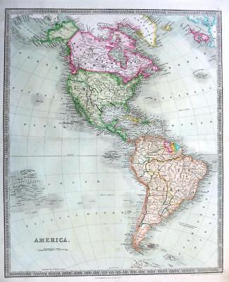 AMERICA  BY DOWER & TEESDALE  GENUINE  ENGRAVED MAP ORIGINAL HAND COLOUR   c1844