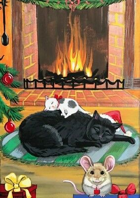 Aceo Print Of Painting Ryta Black Cat Mice Christmas Tree Gift Folk Art Wreath