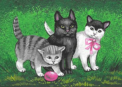 Aceo Print Of Painting Ryta Black White Tabby Cat Easter Egg Kitten Folk Art