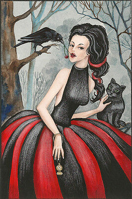 Aceo Print Of Painting Raven Crow Ryta Witch Halloween Black Cat Clock Steampunk