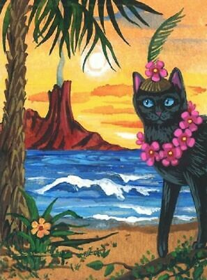 1.5x2 DOLLHOUSE MINIATURE PRINT OF PAINTING RYTA 1:12 SCALE BLACK CAT SPRING ART