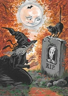 Aceo Print Of Painting Ryta Halloween Black Cat Witch Cemetery Illustration Art