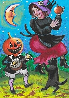 ACEO PRINT OF PAINTING RYTA BLACK CAT WITCH HALLOWEEN BROOM MAGIC AUTUMN FALL